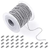 PP OPOUNT 48 Feet Stainless Steel Ball Bead Chain with 30 Pieces Matching Connectors(1 Rol...
