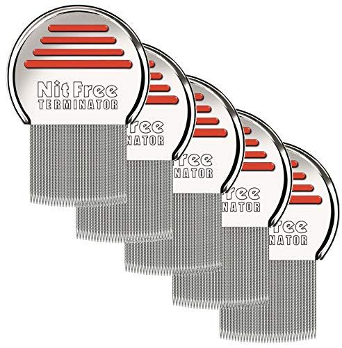 5er Pack Original seit 1998 NitFree Terminator Läusekamm bzw Nissenkamm entfernt sicher Läuse, Eier und Nissen deutsche Version