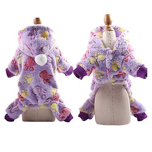 pawstrip Pijama de invierno para perros pequeños, medianos y grandes, con capucha y 4 patas, ropa cálida de franela