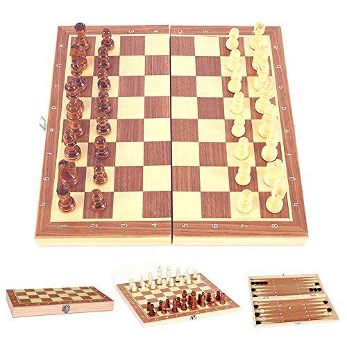 ODOMY Juego de ajedrez 3 en 1 internacionales de madera, ajedrez y dama, regalo para adultos y niños, tarjeta de juego plegable y portátil para viajes Backgammon (24 x 12 x 2,8 cm)