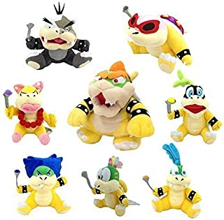 Latim One Set of 8 Super Mario Bros Plush Toy King Bowser Kids Koopalings Koopa Larry Iggy Lemmy Roy Ludwig Wendy Morton Soft Figure
