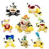 Latim One Set of 8 Super Mario Bros Plush Toy King Bowser Kids Koopalings Koopa Larry Iggy Lemmy Roy Ludwig Wendy Morton Soft Figure