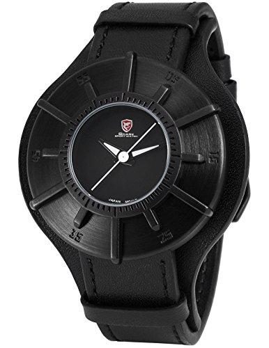 Shark Herren Armbanduhr Sonnenuhr Design Schwarz Leder Band Sport Quarzuhr SH482