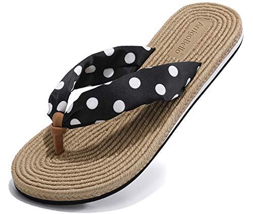 TARELO Chanclas Mujer Flip Flop Con Diseño de Estilo Tejido Sandalia Verano Suave Ligeras Playa Piscina Interiores Exteriores Antideslizantes Tamaño 36-41