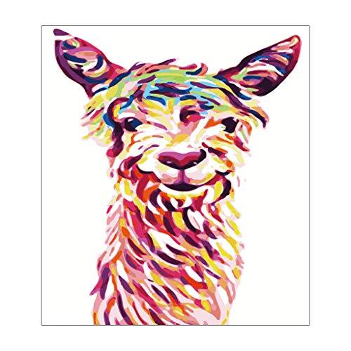 junengSO Punto de Cruz, Pintura Adultos y niños Kits de Pintura al óleo DIY Lienzo preimpreso Alpaca