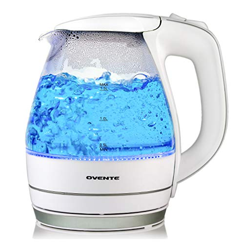 Ovente Electric Glass Kettle 1.5 Liter with Heat Tempered Borosilicate Glass, BPA-Free, 1100 Watts Fast Heating Element with Auto Shutoff and Boil Dry Protection, White (KG83W)
