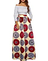 Afibi Women African Printed Casual Maxi Skirt Flared Skirt A Line Long Skirts with Pockets (Medium, Pattern 11)