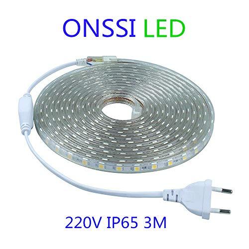 Tiras LED SMD5050 60 Led/m 220v 6000k Luz Fria (3 Metros) IP65 Impermeable Con Enchufe