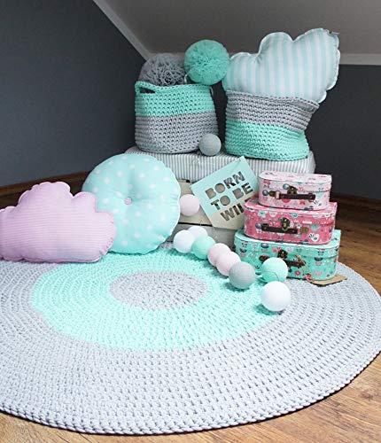 Solenzo Teppich, rund, handgefertigt, gehäkelt, für Kinderzimmer/Baby