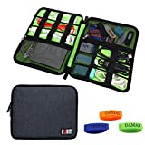 BUBM Universal Electronic Accessories Case for Cables, USB, Flash Drive, Travel Cords Organizer Case with Cable Tie (Large-Black)