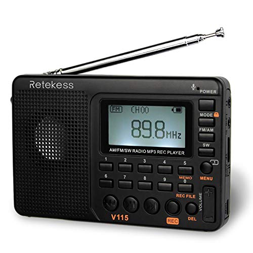 Retekess V115 Shortwave Radio, AM FM Radio Digital Tuner, Rechargeable Radio Support Recording, Portable MP3 Radio with Bass and TF Socket (Black)