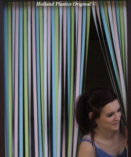 Holland Plastics Original Brand Wohnwagen-Türvorhang, Fliegengitter, Insektenschutz, Streifenvorhang - Pastell Mehrfarbig- 62cm breit