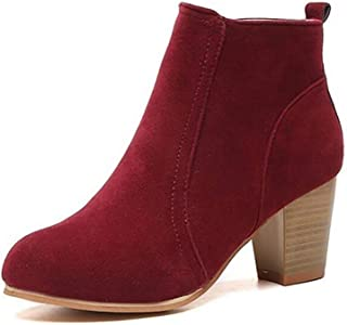 Wiiker Womens Ankle Boots Block Low Mid Heel with Zip Ladies Casual Smart Party Shoes Boots
