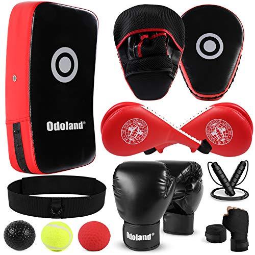 Odoland Pratzen Kampfsport Set mit Taekwondo Handpratze, Doppelpolster ,12oz Boxhandschuhe, Trittschlagpolster, Boxbandagen und Boxing Reflex Ball, Trainerpratzen Boxen Sport für Kickboxen, MMA