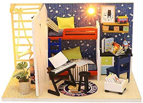 JJJJD-escultura DIY Dollhouse Futuro Modelo de Espacio Los Mini Muebles Simulación con Led Luces y la Cubierta de Polvo, etc coleccionables de decoración for el hogar