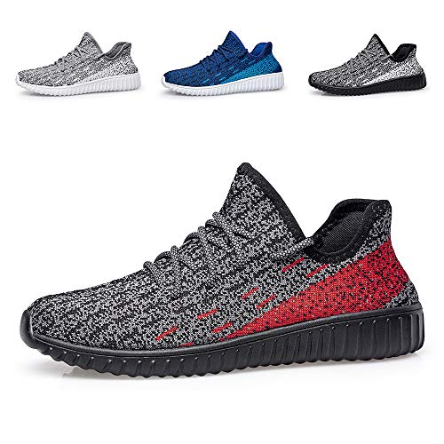 BLITYA Women Men Fashion Sneakers Running Shoes - Athletic Tennis Shoes Breathable Work Shoes Slip on Walking Shoes Red/Black