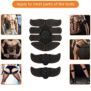 POPGER Muscle Toner Abdominal Trainer ABS EMS ToningBelt Wireless Portable with 10 PCS Training Gear for Waist Legs Arm Women Men Home Use