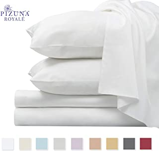 Pizuna 1000 Thread Count 4pc Sheet Set, 100% Long Staple Cotton White King Sheets, Luxurious Smooth Sateen Weave Bed Sheets fits Upto 15 inch Deep Pockets (White King 100% Cotton Sheet Set)