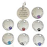 Médaille pour chien Pendentif rond personnalisable motif patte et imitation diamant 27mm - Gravure possible
