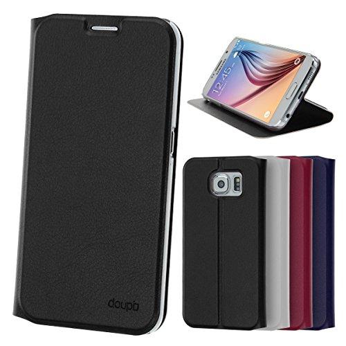doupi Deluxe FlipCover para Samsung Galaxy S6, Carcasa Case magnético Funda Caso tirón Estilo Libro Protector de Cuero Artificial, Negro