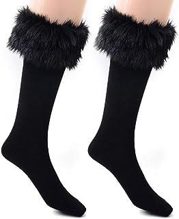 LEORX Calcetines de arranque calcetines nieve calcetines calentador de la pierna de las mujeres con manguito de piel: 1 par (negro)
