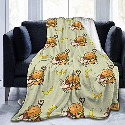 Manta de Felpa Suave Cama Gato Hamburguesa Plátano Manta Gruesa y Esponjosa Microfibra, Suave, Caliente, Transpirable para Hogar Sofá , Oficina, Viaje