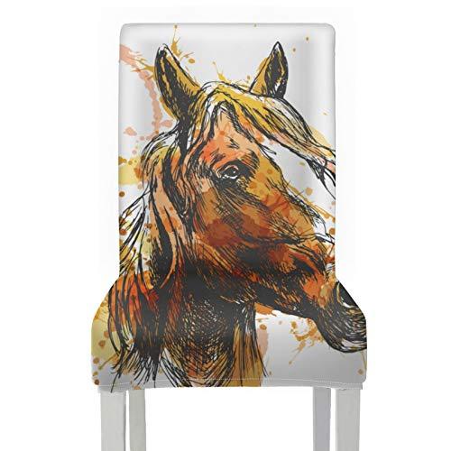 Funda para silla con dibujo a mano de color, cabeza de caballo, 2 piezas elásticas, extraíbles, lavables, protectores para sillas de comedor, fundas para decoración navideña / decoración del h
