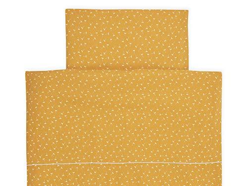 KraftKids Bettwäsche-Set Musselin gelb Pusteblumen aus Kopfkissen 40 x 60 cm und Bettdecke 135 x 100 cm, Bettbezug aus Baumwolle, handgearbeitete Bettwäsche gefertigt in der EU