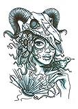 Tatuajes Temporales Art Sticker Cover Up Set Lote Único Negro Para Adultos Mujeres Niñas Impermeables Extraíbles No Tóxicos Sombrerería Animal Figura Mujer 15x21cm -10Pcs