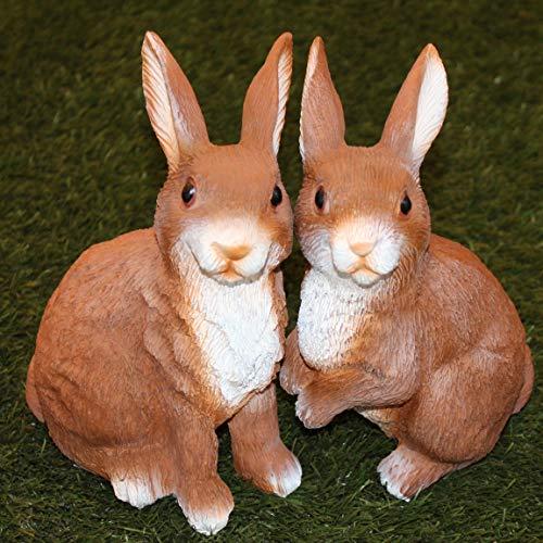Kamaca Juego de 2 figuras de pareja de conejos, mejores amigos, 2 conejos sentados, de polirresina, decoración de Pascua para interiores y exteriores (juego de 2 unidades XXL)
