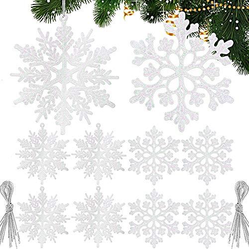 24pz Fiocchi di Neve Glitter Bianco Decorazioni Natalizie Appese per Albero di Natale Addobbi Natalizi Ornamenti