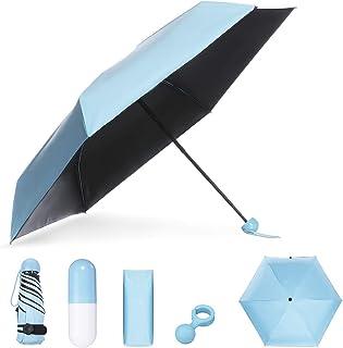 Mini Paraguas Plegable NASUM, Paraguas Portátil en Forma de Cápsula, Paraguas de Viaje Ligero Compacto Plegable Doble Capa Bloqueador Solar, Protección UV UPF 50+ Resistente a la Lluvia,Azul Cielo