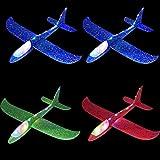 Queta Planos de Espuma 4piezas Planeadores de Lanzamiento Juguetes de Glider Aviones Modelo de Avion Lanzamiento de Mano con Luz Led Favores de Fiestas Al Aire Libre