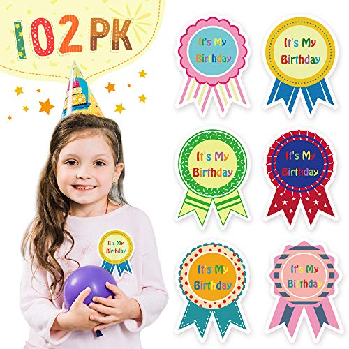 Happy Birthday Stickers for Kids - It's My Birthday Stickers - 102 Pieces | Birthday Roll Stickers with 6 Assorted Designs | Birthday Stickers for Teachers, Classroom, Students, 3.7 x 2.8 Inches