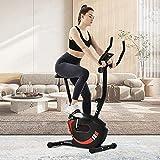 Bicicleta estática de fitness, bicicleta de fitness, bicicleta ergómetro fitness con sensores de pulso, 8 niveles de resistencia, sillín ajustable, peso del usuario hasta 120 kg (rojo)