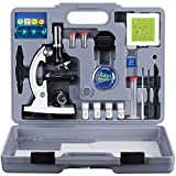 AmScope M30-ABS-KT2-W Beginner Microscope Kit, LED and Mirror Illumination, 300X, 600x, and 1200x