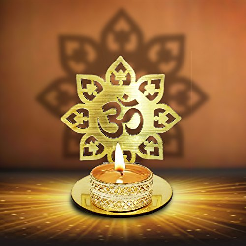 Om Shape Diwali Shadow Diya. Deepawali Traditional Decorative Diya in Om Shape for Home/Office..Religious Tea Light Candle Holder Stand. Decoration Indian Gifts Items (Gold)