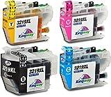 Kingway LC3219XL - Cartucho de tinta compatible con Brother LC3217 LC3219 con Brother MFC-J5335DW J5330DW J6930DW J5730DW J6530DW J5930DW J6935DW (1 negro, 1 cian, 1 magenta y 1 amarillo)
