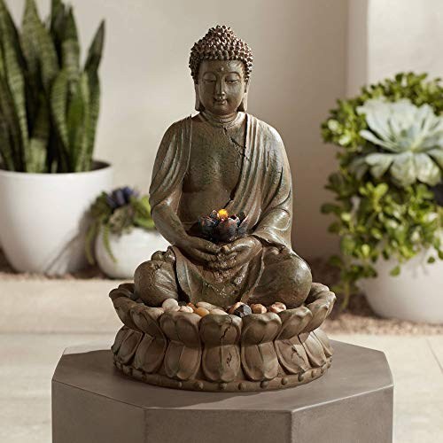 John Timberland Meditating Buddha Antique Bronze 18.5' H LED Lighted Fountain