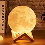 yunli Drop Shipping 3D Print Moon Lamp 2colors LED Night Light for Home Christmas Decoration (Size : Diameter 20CM)