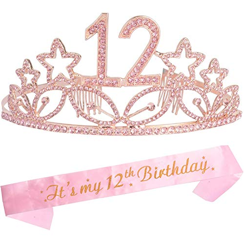 12th Birthday Gifts for Girl, 12th Birthday Tiara and Sash, Happy 12th Birthday Party Supplies, Birthday Crown for 12th Birthday Party Supplies and Decorations, 12th Birthday Decorations for Girl