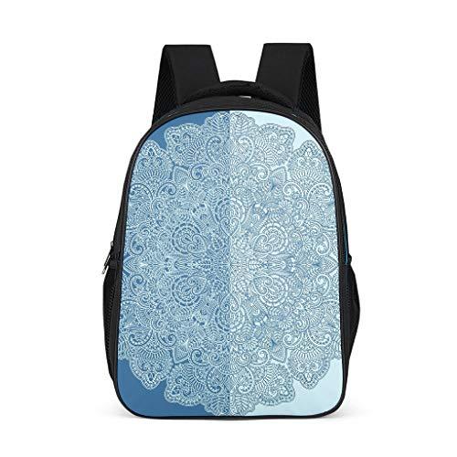 XJJ88 Bule Mandala Backpack Stylish Big Bookbag - Stripes Pattern Bookbag International Travel Use for Men Grey OneSize