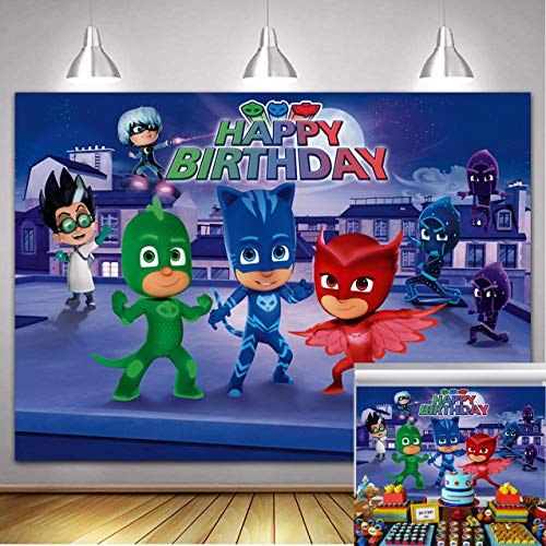 PJ Masks Party Supplies Photography Backdrop 7X5ft Cartoon Super City Hero Background Boys Birthday Cake Table Decoration Baby Shower Banner Photo Booth Props