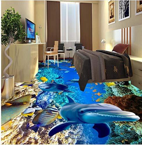 Modernes benutzerdefiniertes 3D-Bodenbild Unterwasserwelt Fischschildkröte Badezimmer 3D-Boden selbstklebende PVC-Tapete-350 * 275 cm