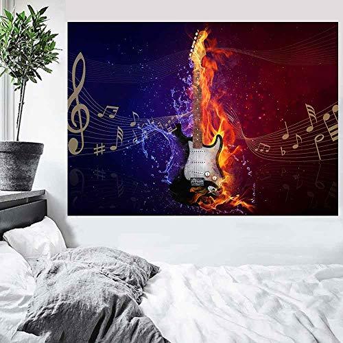 DIY Pintar por números Cráneo fuego música graffiti micrófono art deco pintura pintar por numeros principiante Con pincel y pintura acrílica pintura por números para adultos l40x60cm(Sin marco)