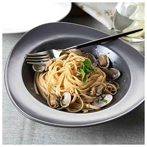 CJW Assiette irrégulière en triangle américain - Salle à manger en céramique Plat à chapeau en paille Soupe aux pâtes (Color : Gray)