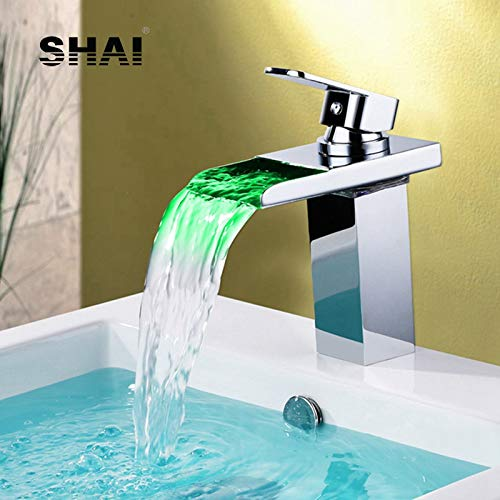 RSZHHL Kraan Led Licht Glas Waterval Kraan Goede Kwaliteit Warm & Koud Water Mixer Tap Chrome Finish Messing Kraan Vierkant Led Tap