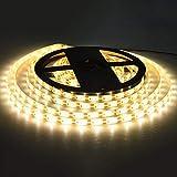 ACBungji - Striscia LED 3 m, 180 LED, con sensore PIR, luce bianca calda, alimentata a batteria, autoadesiva, per armadio, camera da letto, soffitto, cucina, interni, Natale