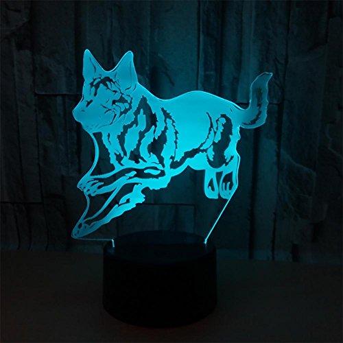 baby Q LED 3D Illusion Lampe, Lumières tactiles colorées de Loup, Lampe visuelle Acrylique, lumière d'alimentation d'USB