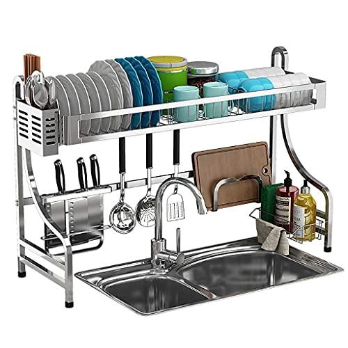 JJYGONG Talladora de Platos, Cocina de Acero Inoxidable 304 Sobre el Fregadero Drying Rack Drain Rack Vajilla Organizador de Drenaje, 2 Tamaños Antióxido / 84 * 31.5 * 57.5cm